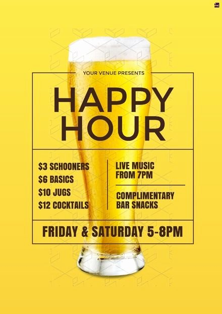 Happy Hour Menu Template Elegant Design Template Happy Hour Poster Our Professionally Designed Templates Can Be Updated In