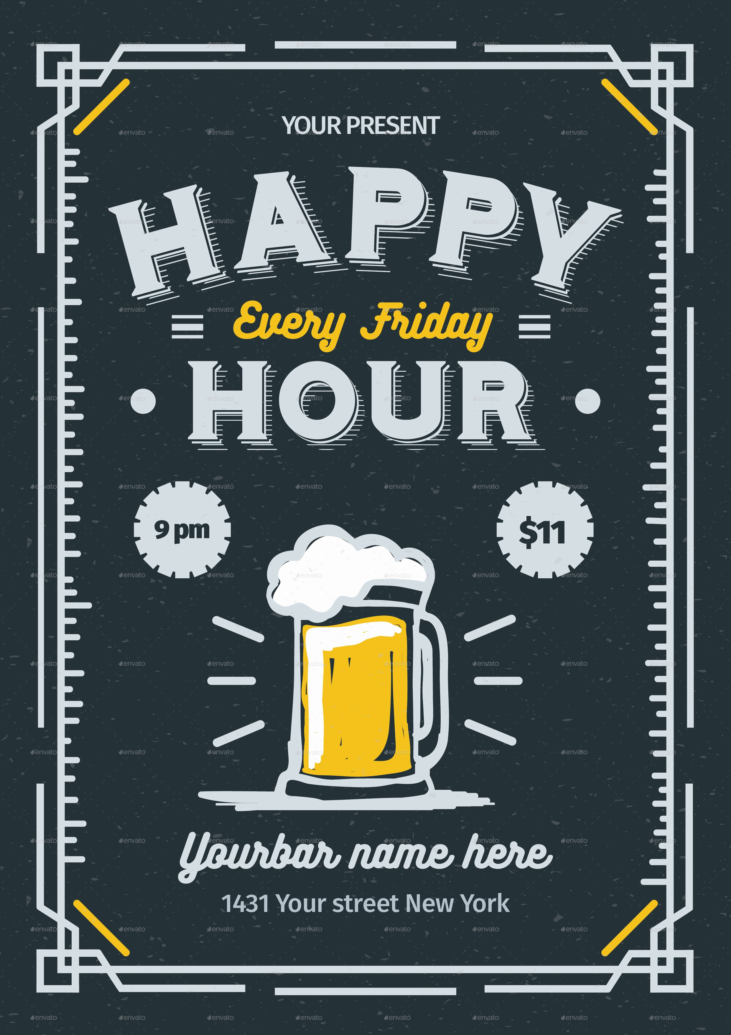 Happy Hour Menu Template Elegant Happy Hour Flyer by Lilynthesweetpea