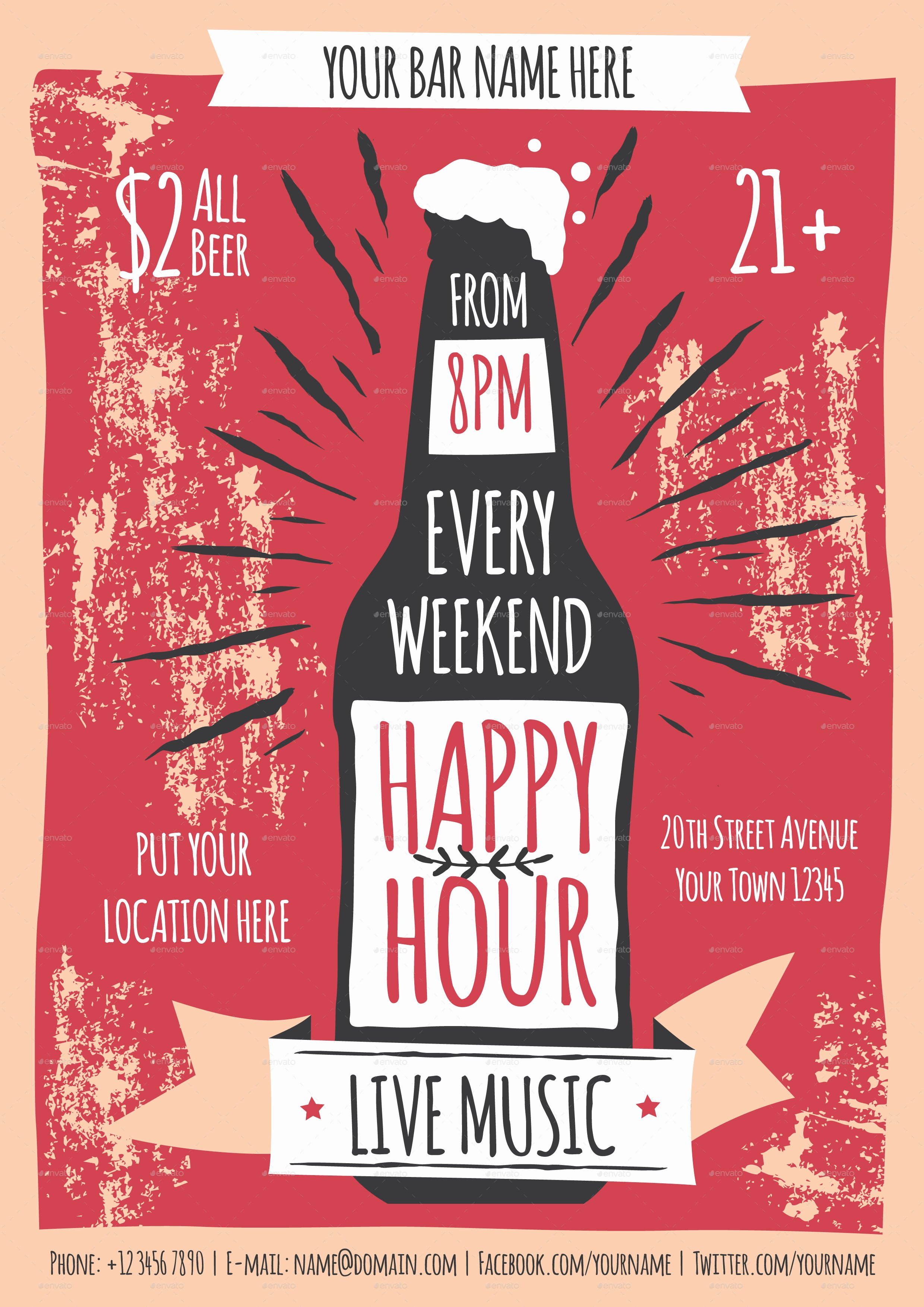 Happy Hour Menu Template Luxury Happy Hour Flyer Template by Me55enjah