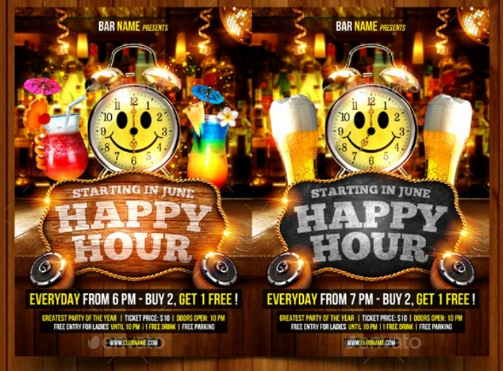 Happy Hour Menu Template Unique 14 Happy Hour Menu Designs & Templates Psd Ai