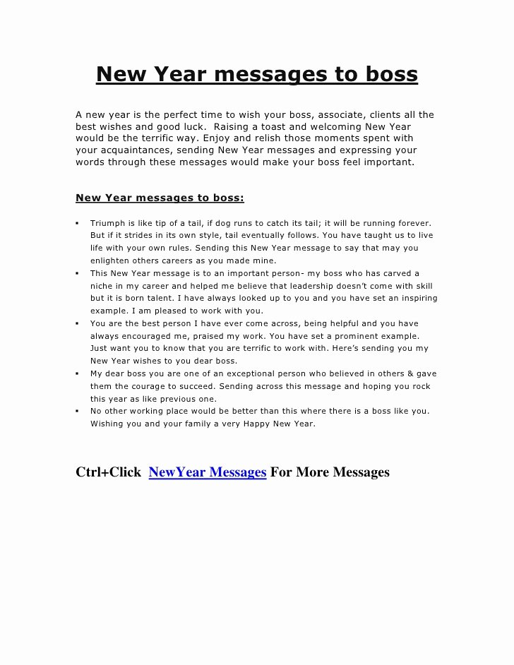 Happy New Year Email Template Fresh New Year Messages to Boss