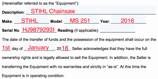 Heavy Equipment Bill Of Sale Beautiful Free Equipment Bill Of Sale form Word Pdf