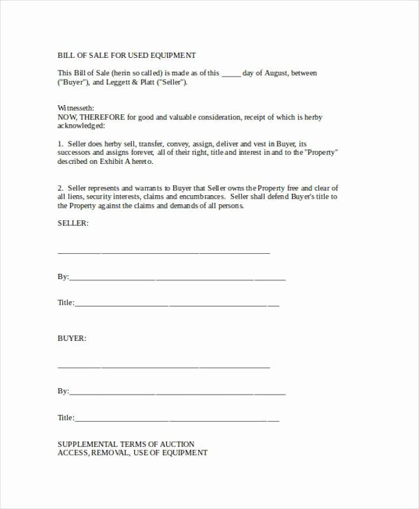Heavy Equipment Bill Of Sale Elegant Free 36 Bill Of Sale forms In Word