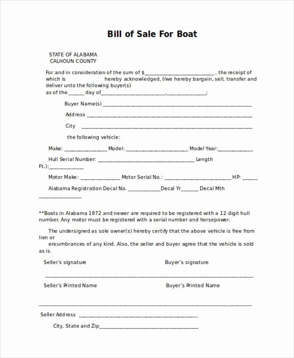 Heavy Equipment Bill Of Sale Lovely Free 36 Bill Of Sale forms In Word