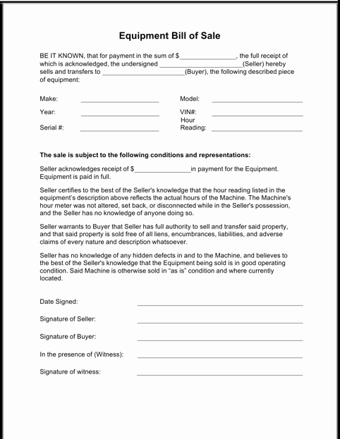 Heavy Equipment Bill Of Sale Luxury Download Equipment Bill Of Sale form for Free formtemplate