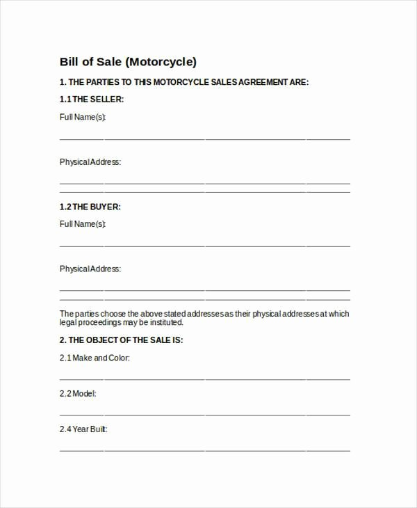 Heavy Equipment Bill Of Sale Luxury Free 36 Bill Of Sale forms In Word