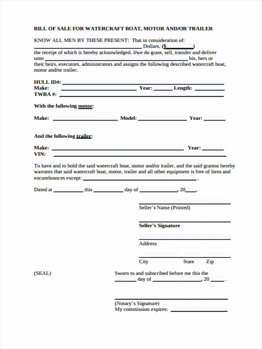 Heavy Equipment Bill Of Sale New Free 29 Sample Bill Of Sale forms