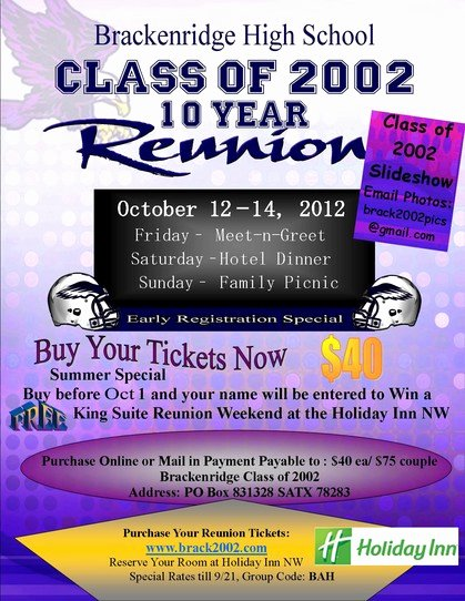 High School Reunion Flyer Inspirational Brackenridge High School Class 2002 San Antonio Tx