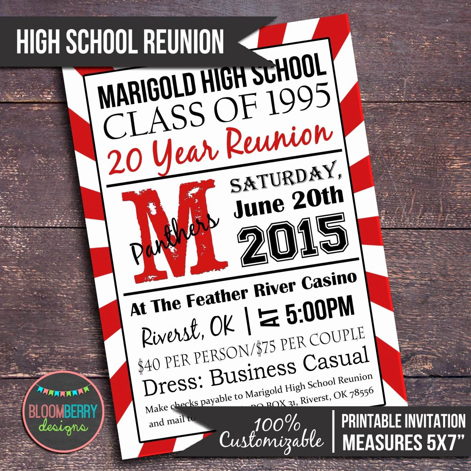 High School Reunion Flyer Luxury High School Reunion Invitation Printable High by Bloomberrydesigns