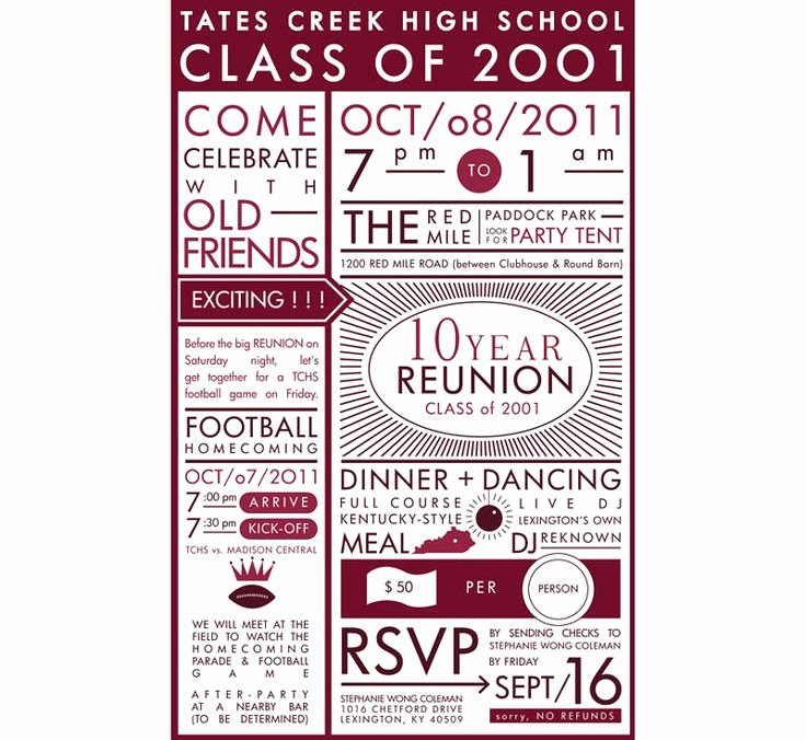 High School Reunion Flyer New High School Reunion Invitation Reunion Ideas