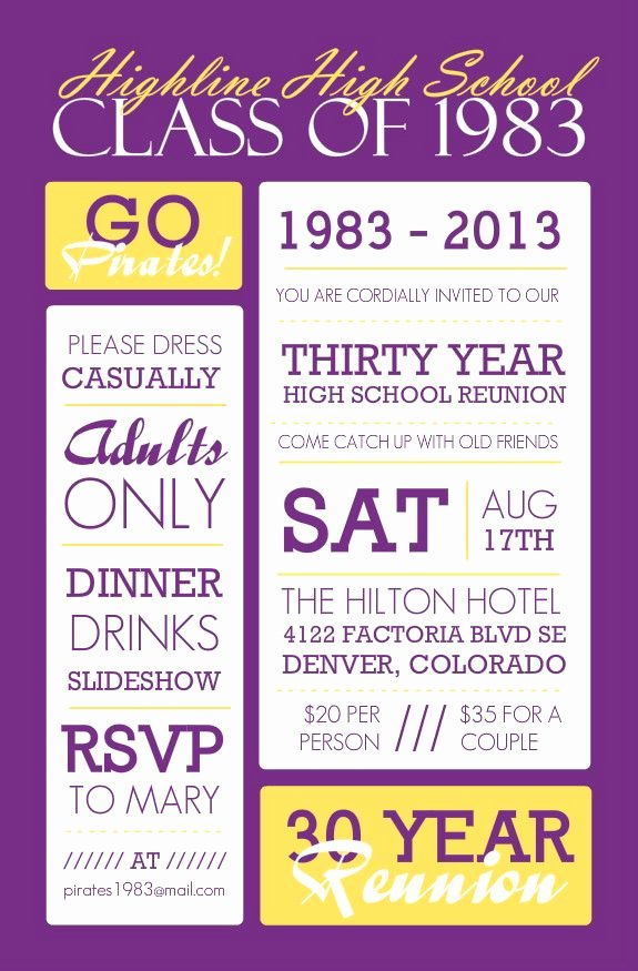 High School Reunion Flyer New Poster Style Purple and Yellow Class Reunion Invitation Class Reunion Ideas
