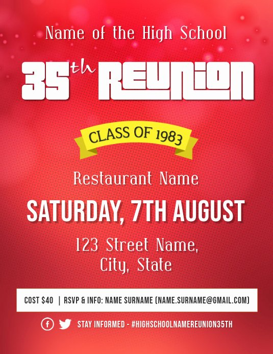 High School Reunion Flyer Unique High School Reunion event Flyer Template