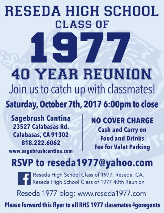 High School Reunion Flyer Unique Reseda High School Class Of 1977 the Celestians