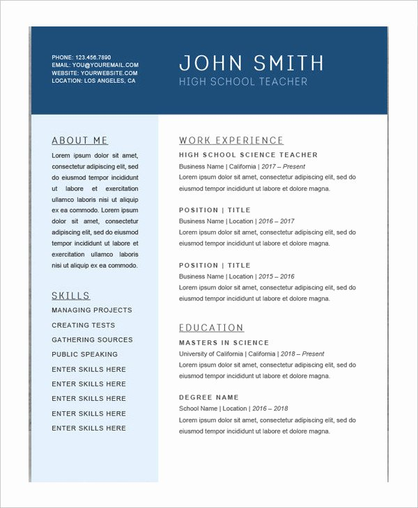 High School Teacher Resume Awesome 10 Chronological Resume Templates Pdf Doc