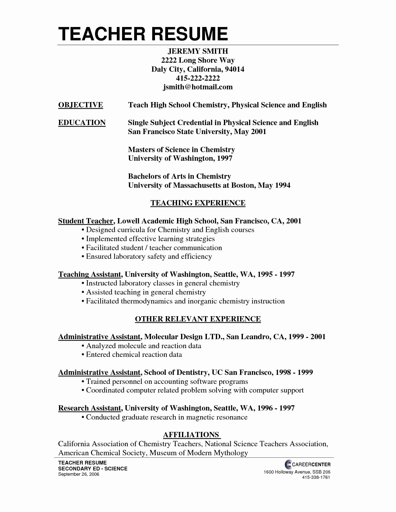High School Teacher Resume Best Of High School Teacher Resume School Teacher Resume