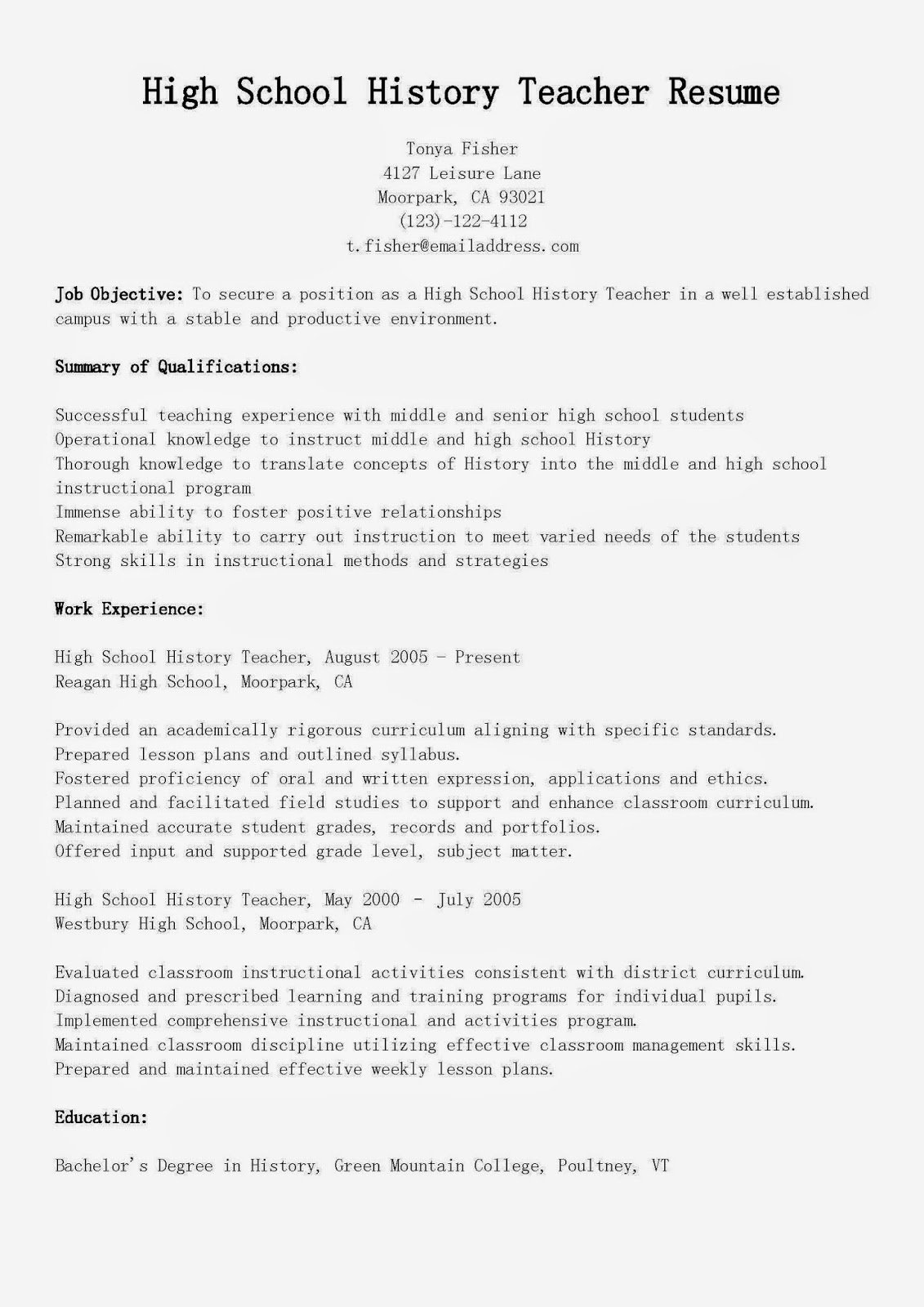 High School Teacher Resume Best Of Resume Samples High School History Teacher Resume Sample