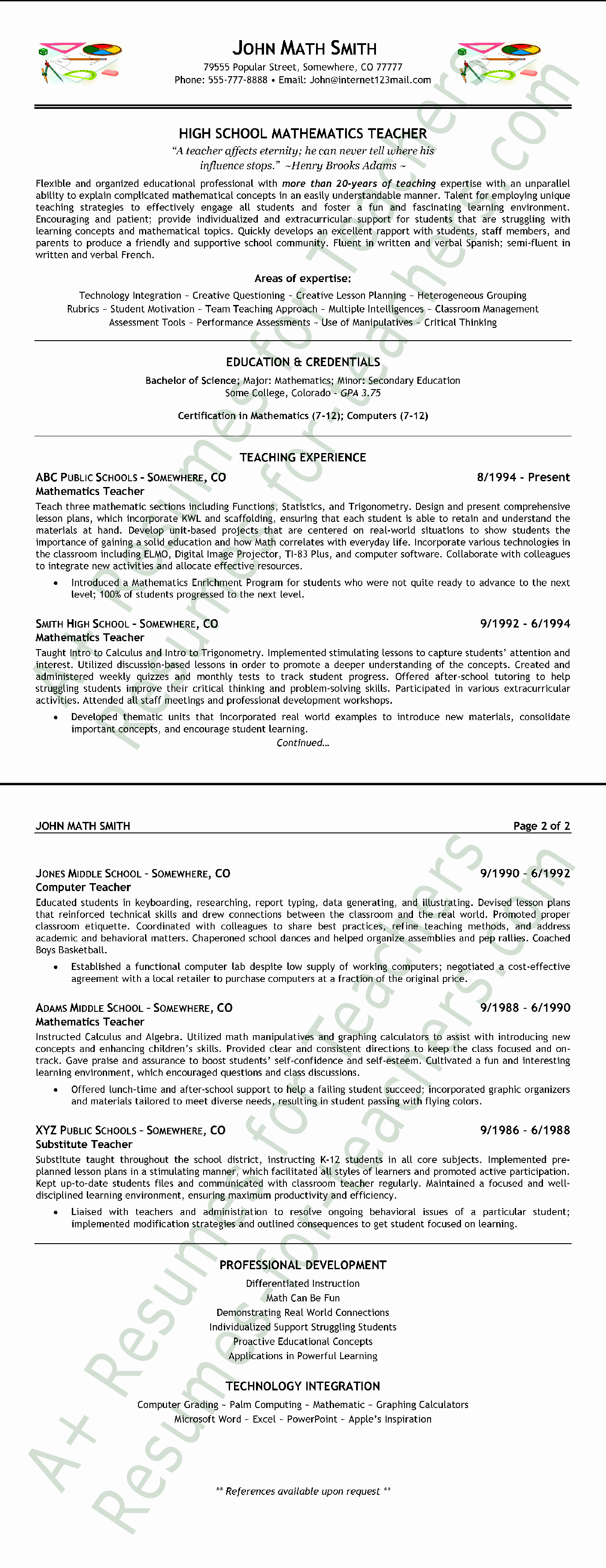 High School Teacher Resume Elegant High School Mathematics Teacher Resume format