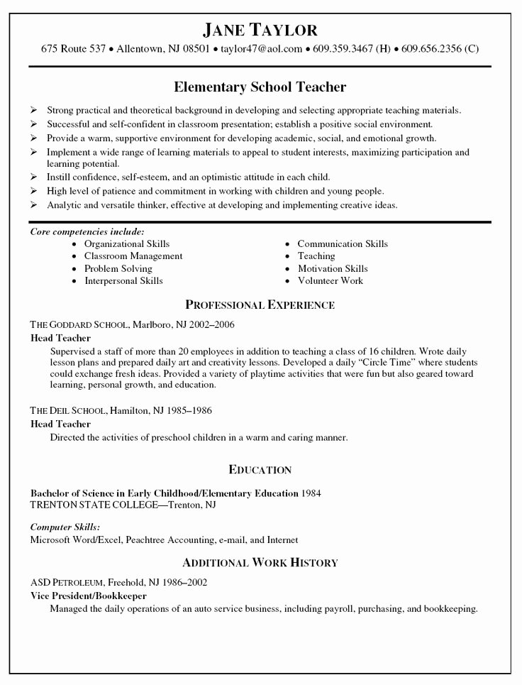 High School Teacher Resume Fresh Elementary Teacher Resume Sample Resume Samples Pinterest Teacher Resumes Resume and Cover