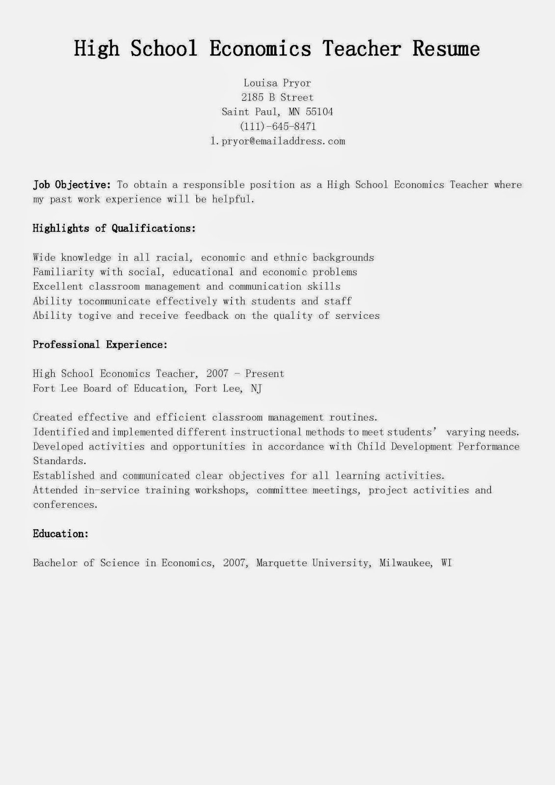High School Teacher Resume Fresh Resume Samples High School Economics Teacher Resume Sample