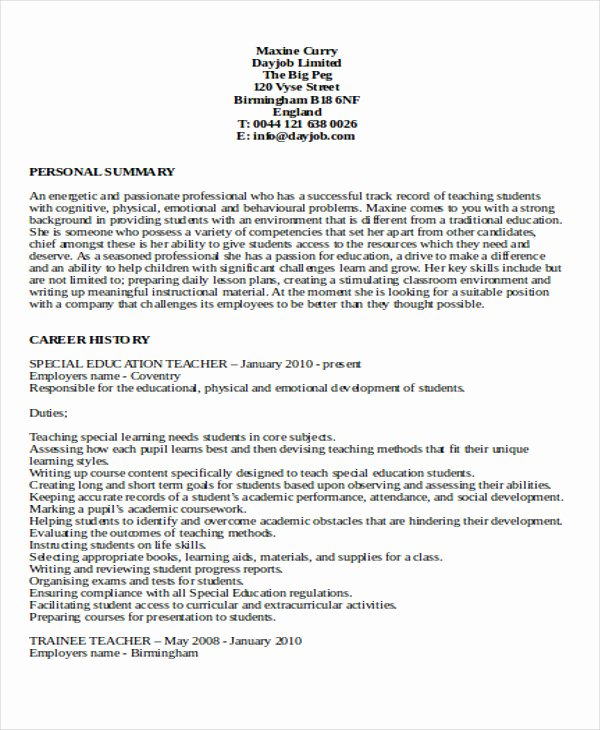 High School Teacher Resume Lovely 29 Basic Teacher Resume Templates Pdf Doc