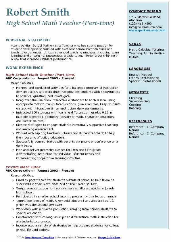 High School Teacher Resume Lovely High School Math Teacher Resume Samples