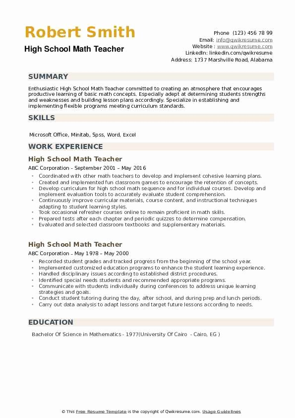 High School Teacher Resume New High School Math Teacher Resume Samples