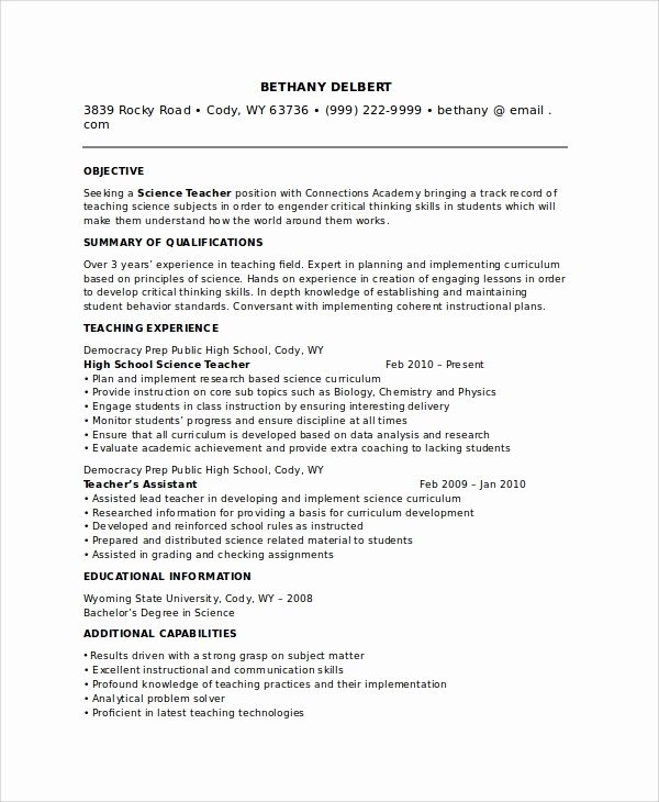 High School Teacher Resume Unique Sample Teacher Resume 8 Examples In Pdf Word