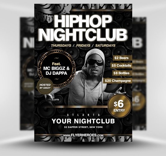 Hip Hop Flyers Templates Lovely Free Hip Hop Nightclub Flyer Template Flyerheroes