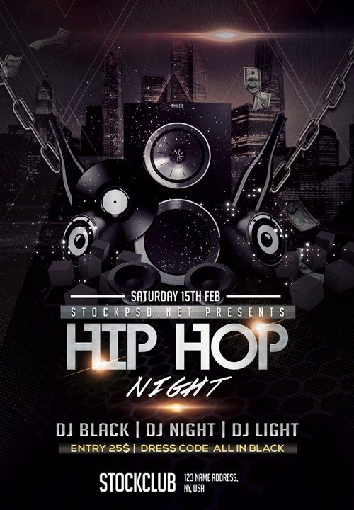 Hip Hop Party Flyer Elegant Freepsdflyer