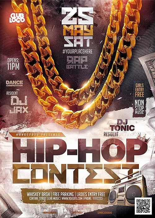 Hip Hop Party Flyer Elegant Hip Hop Contest Flyer Template… Flyer Poster Designs
