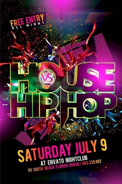 Hip Hop Party Flyer Fresh House Vs Hiphop Party Flyer by Industrykidz On Deviantart