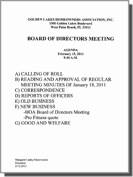 Hoa Meeting Minutes Template New Notice Of Board Meeting – Glv Homeowners assoc Board Of Directors – Tuesday Morn