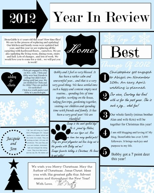 Holiday Newsletter Templates Free Awesome A Year In Review Christmas Letter and Template Stonegable