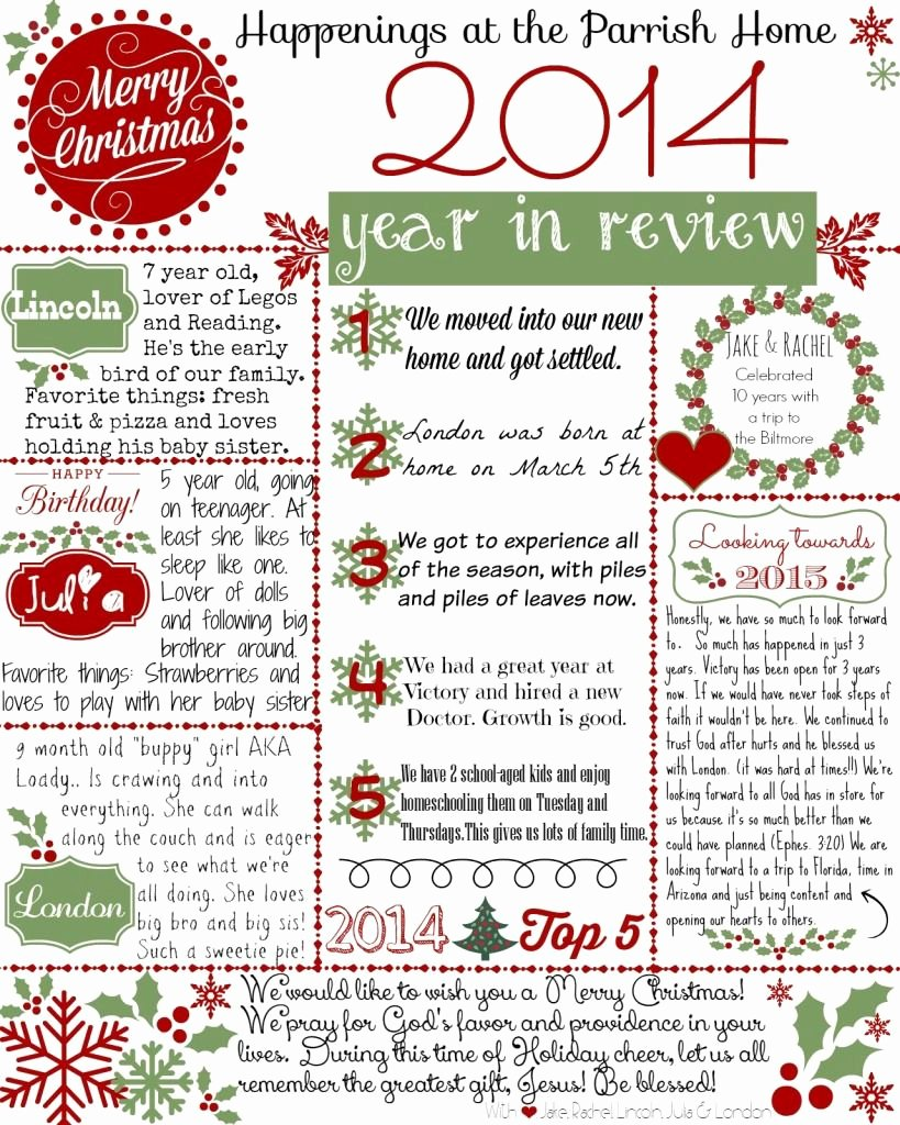 "Holiday Newsletter Templates Free Awesome Christmas Letter Get Your Free ""2014 Year In Review"" Printable Template"