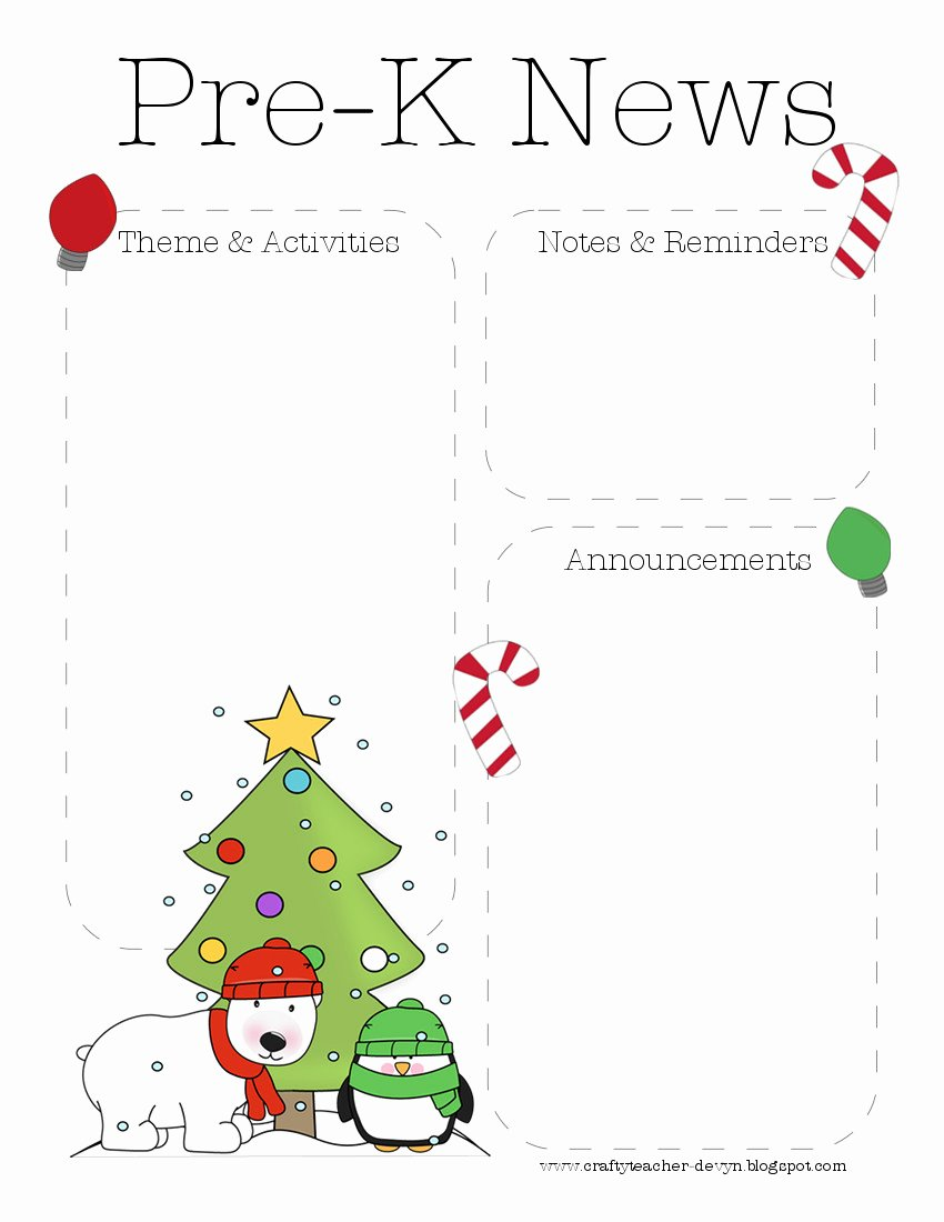 Holiday Newsletter Templates Free Awesome Christmas Pre K Newsletter Template