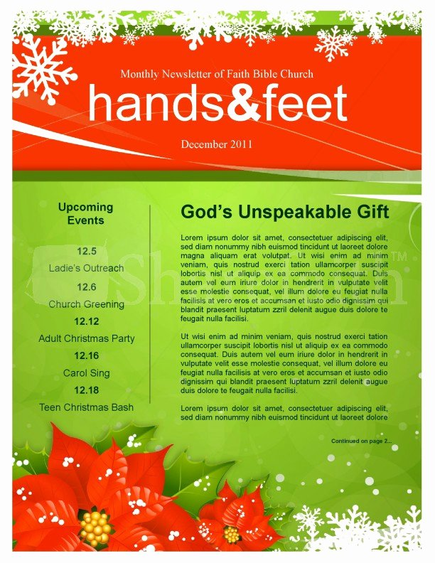 Holiday Newsletter Templates Free Fresh 5 Free Christmas Newsletter Templates for Church Faith Magazine