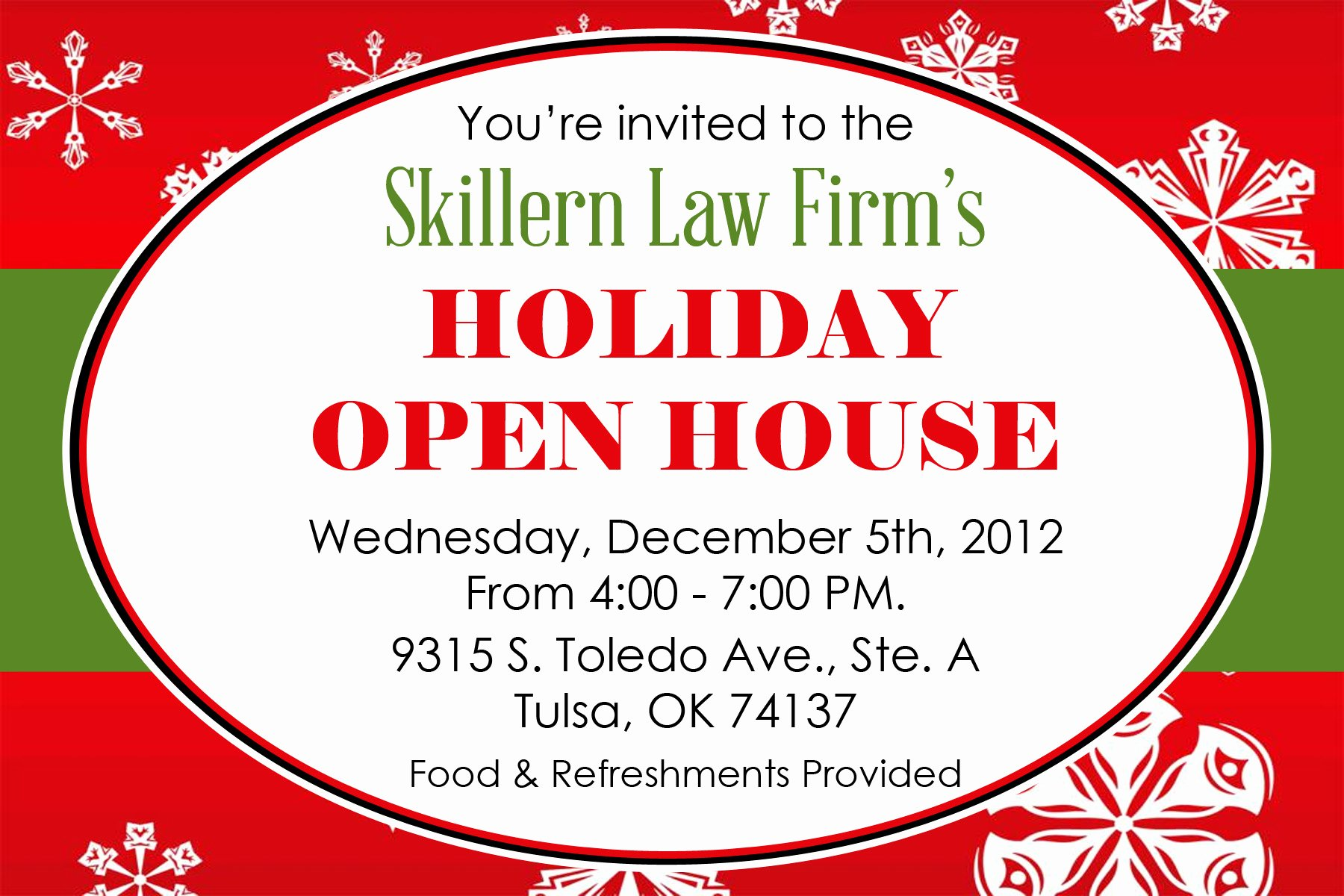 Holiday Open House Invitations Beautiful Holiday Open House Skillern Law Firm Pllc