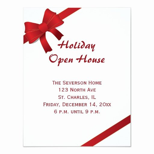 Holiday Open House Invitations Beautiful Red Bows Holiday Open House Party Invitation