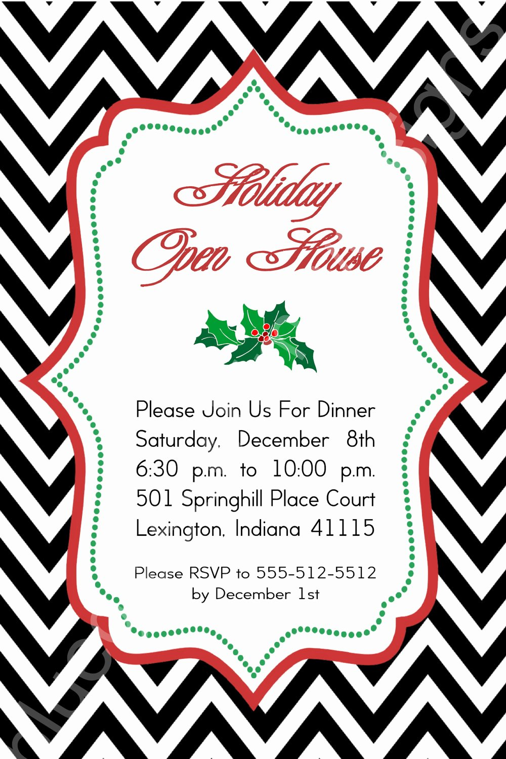 Holiday Open House Invitations Fresh Black Chevron Holly Holiday Open House Invitation