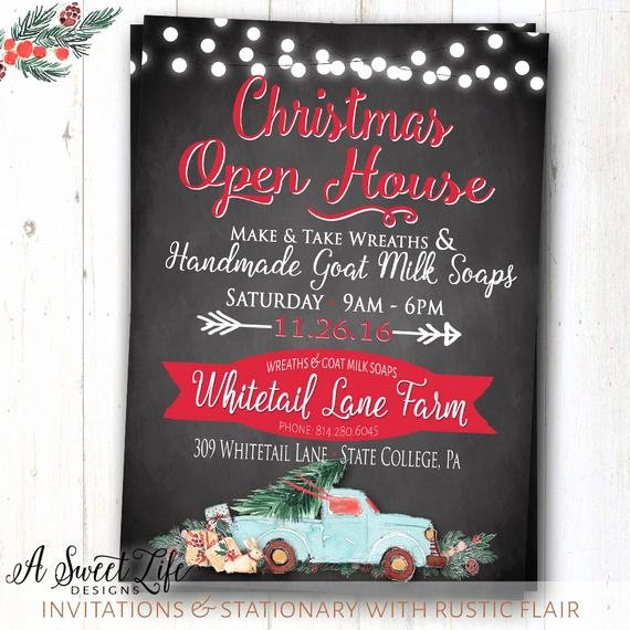 Holiday Open House Invitations Inspirational Christmas Holiday Open House Invitation Dinner Party Shop