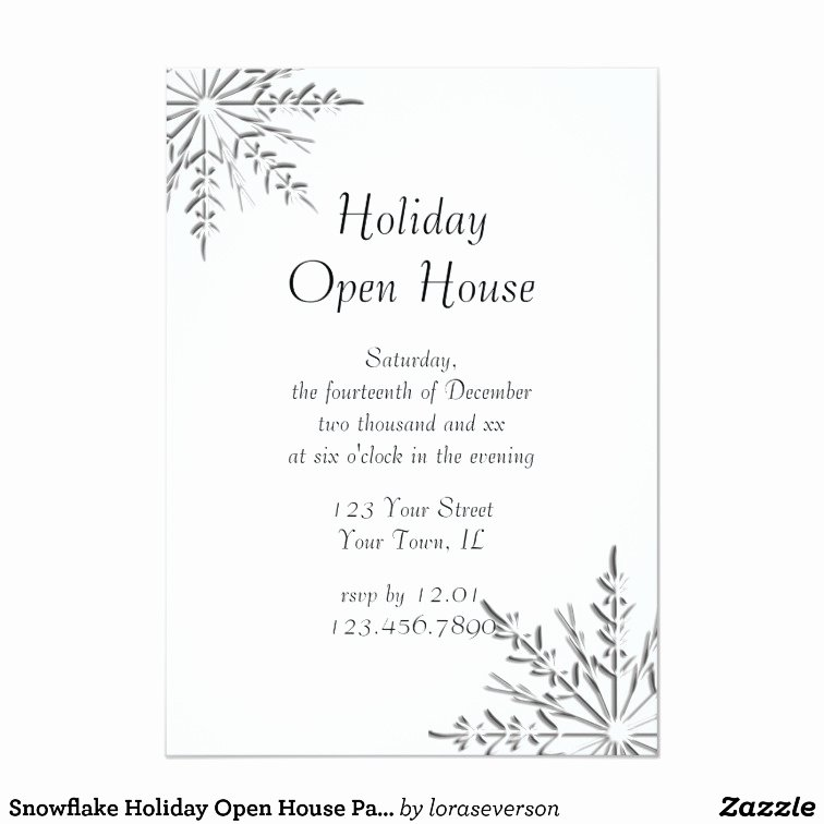 Holiday Open House Invitations New Snowflake Holiday Open House Party Invitation