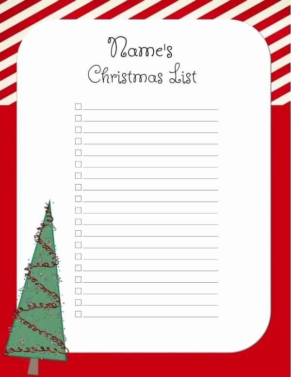 Holiday Wish List Template Awesome Free Christmas List Template