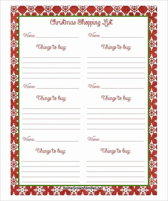 Holiday Wish List Template Fresh Free Christmas Shopping List Pdf Download 24 Christmas Wish List Template to Fill Out by
