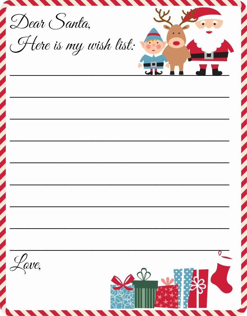 Holiday Wish List Template Fresh Free Printable Letter to Santa Template Cute Christmas Wish List