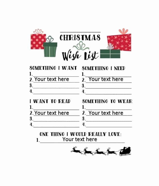 Holiday Wish List Template Inspirational 43 Printable Christmas Wish List Templates & Ideas Template Archive