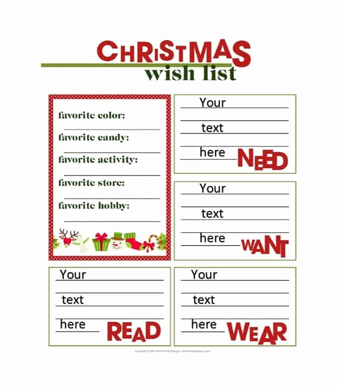 Holiday Wish List Template Unique 43 Printable Christmas Wish List Templates & Ideas Template Archive