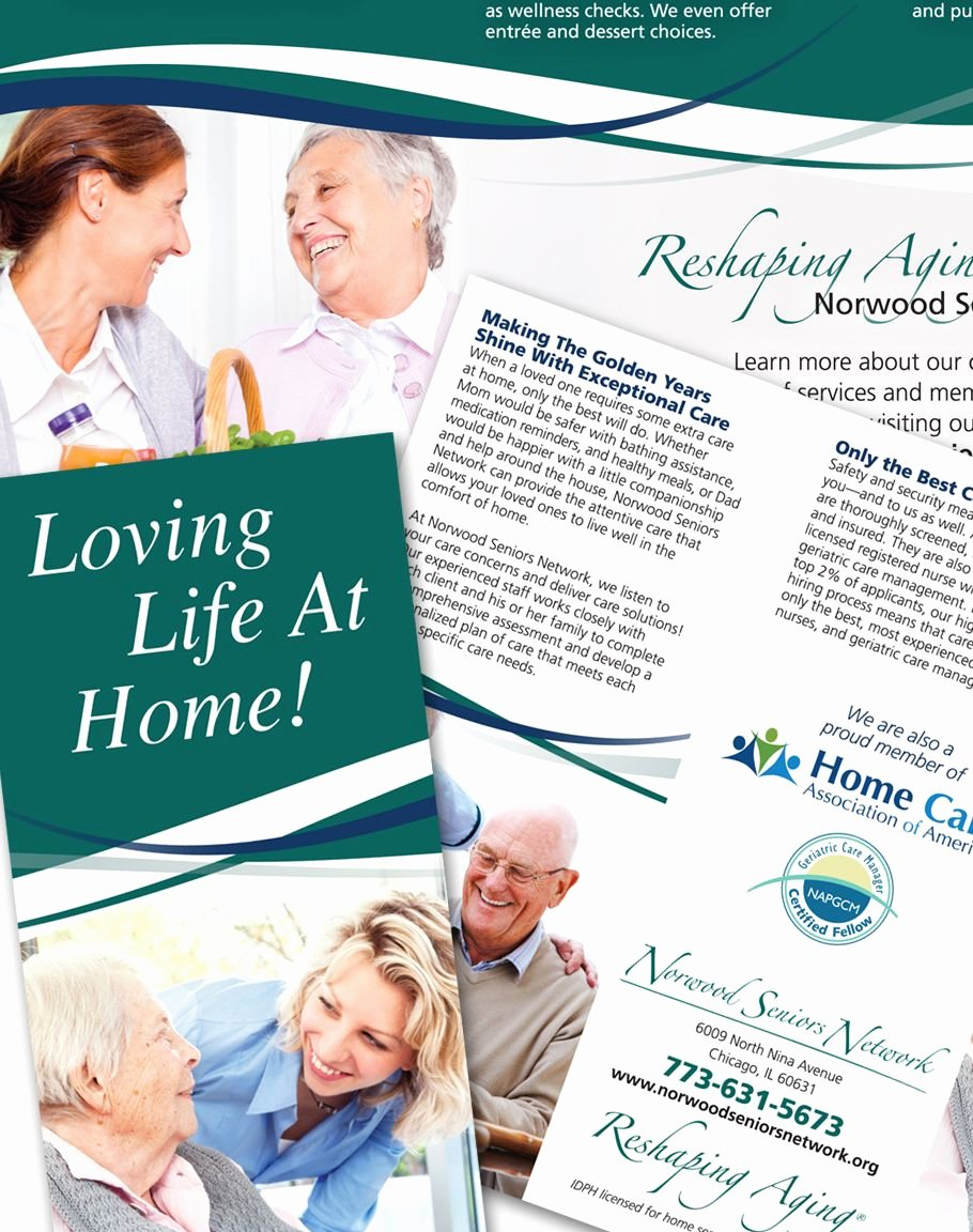 Home Health Care Brochures Lovely Tar Ed Brochure Design for norwood Seniors Network Homecare Marketing Our Work