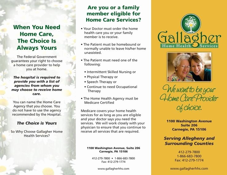 Home Health Care Brochures New Gallagher Home Health Care Flyer