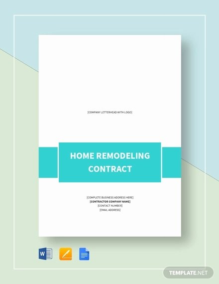 Home Improvement Contract Template Beautiful 10 Home Remodeling Contract Templates Word Docs Pages