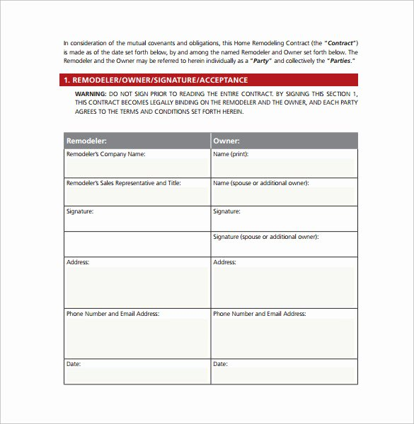 Home Improvement Contract Template Elegant 10 Remodeling Contract Templates Pages Docs